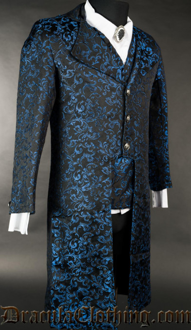 Blue Brocade Elegant Tailcoat