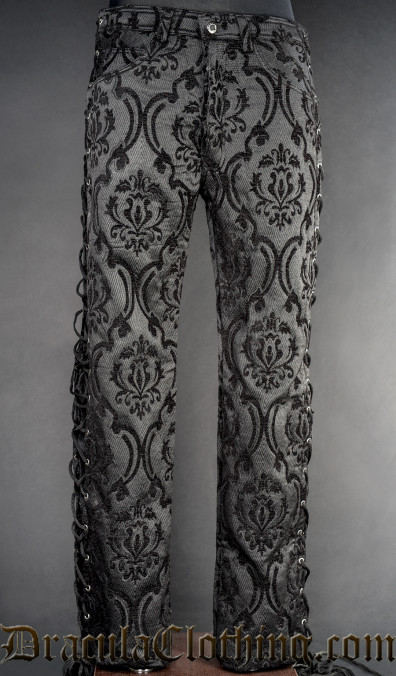 Black Brocade Laced Pants