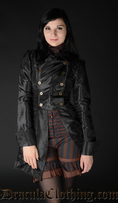 Black Satin Military Coat
