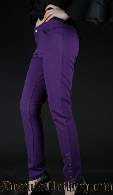 Purple Five Button Pants