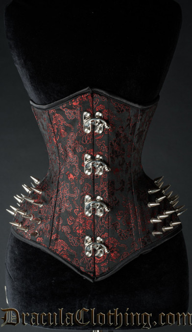 Red Brocade Spike Extreme Waist Clasp Corset