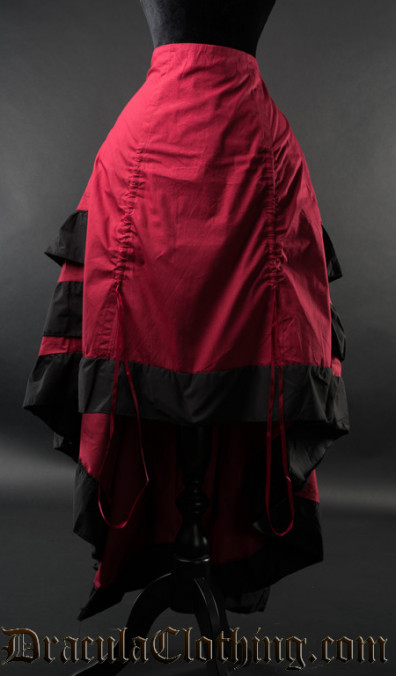 Red Layer Bustle Skirt