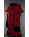 Crimson Brocade Thick Winter Coat